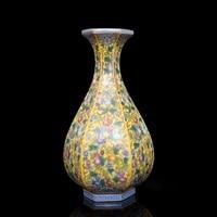 Qing Yong Zheng Antique Ceramic Vase Enamel Hexagon Gourd Vase Antique Porcelain Ancient Porcelain Collection