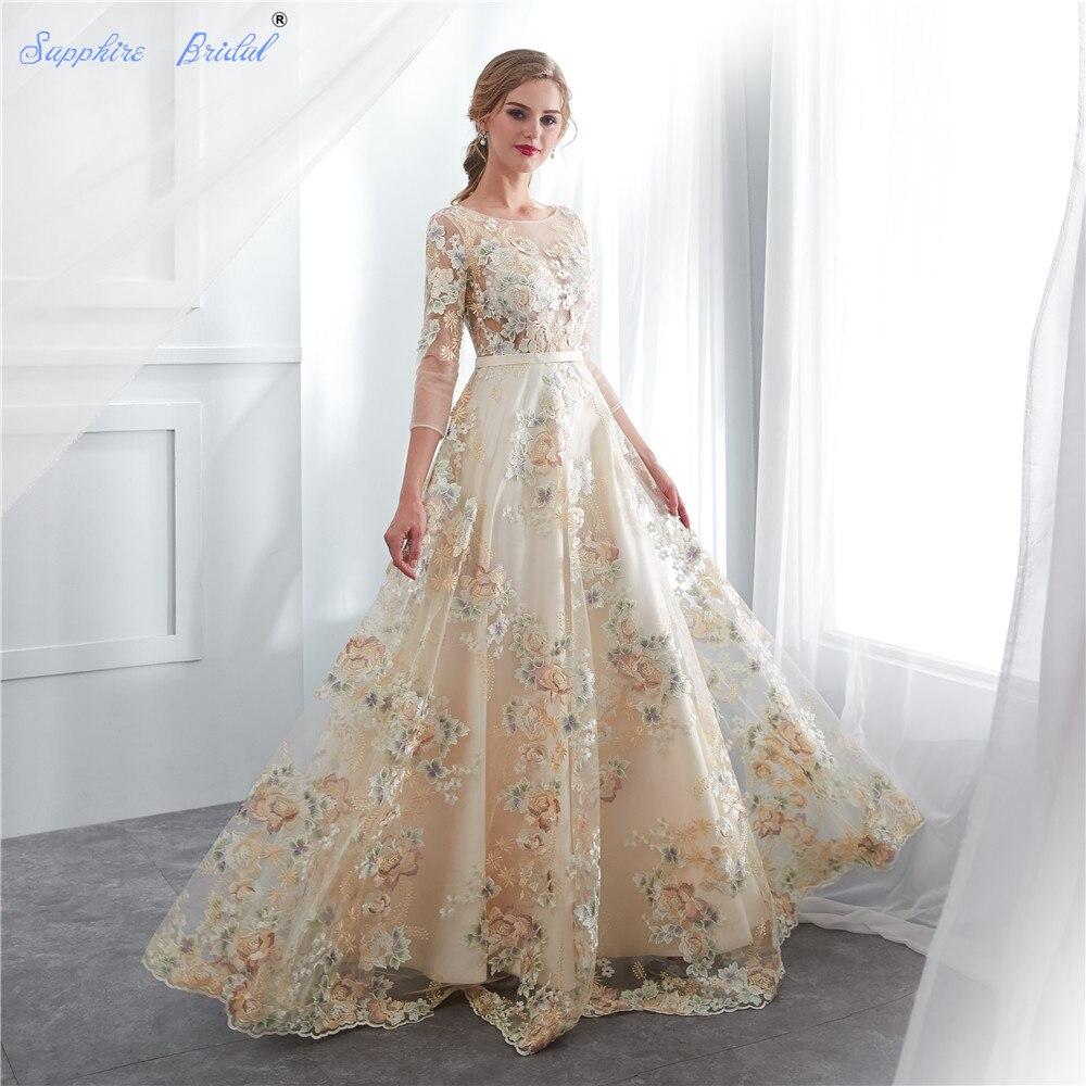 Sapphire Bridal 2019 Women\'s Champagne Lace Patten Long Party Gowns ...