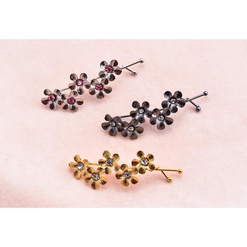 font b Women s b font brass hairpin exquisite little flower hand craft hair font