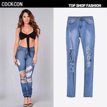 Cockcon 2017 весна рваные джинсы женщин отверстия в колени узкие джинсовые брюки femme высокой талией джинсы разрушенные брюки женщина wt002