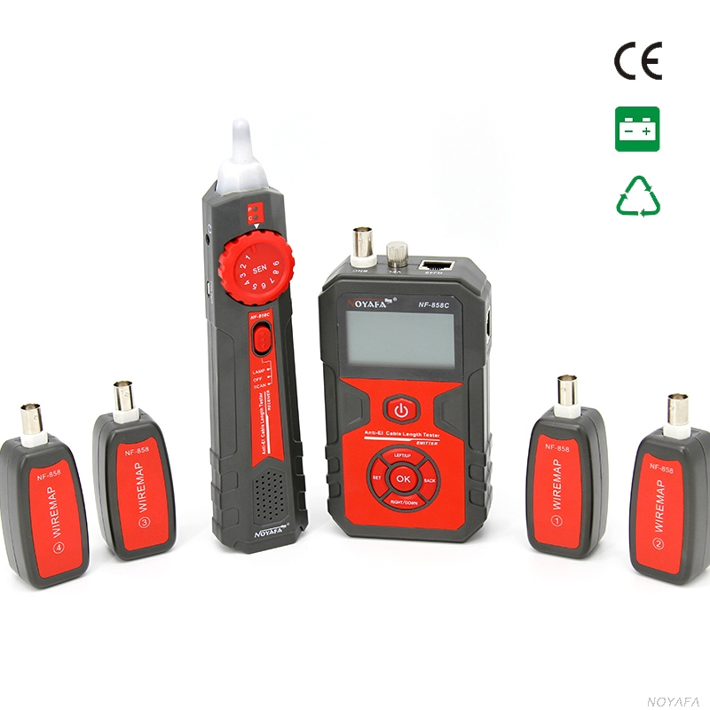 NOYAFA NF-858C Trace Cable Line Locator Portable Wire Tracker Cable Tester Finder Network Cable Testing BNC Measure Cable Length