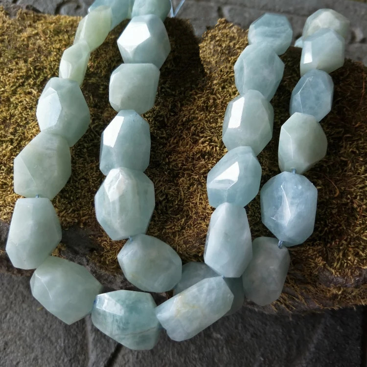 loose beads big shape 15*18-20mm Aquamarine baroque faceted free shape for DIY jewelry making FPPJ wholesale beads nature