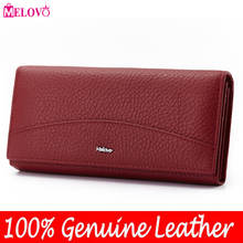 MELOVO Special Sales!! 100% Genuine Leather Wallet Cowhide Womens Wallets Clutch Long Design Purse Bags  Handbag  JL18