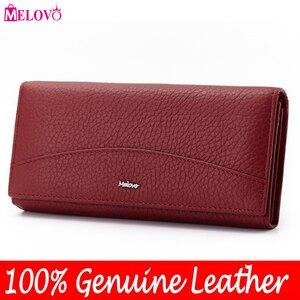 Image 1 - MELOVO wyjątkowa wyprzedaż!! 100% portfel z prawdziwej skóry wołowej portfele damskie sprzęgła długa torebka designerska torebka JL18
