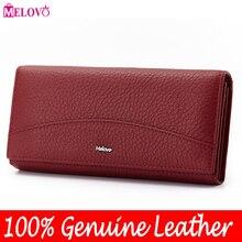 ¡Ventas especiales de MELOVO! Cartera 100% de piel auténtica para mujer, billetera de piel de vaca, bolso de mano de diseño largo, JL18