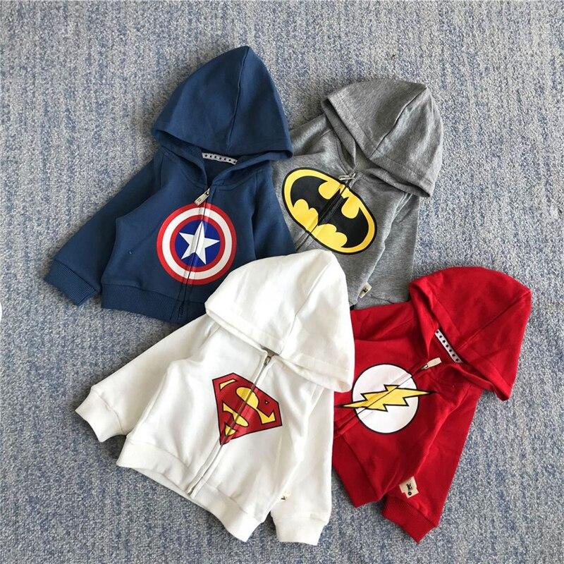 SFC-211 Sengfei  New Autumn Outerwear Children Baby Boys Clothes Superhero series Printed Hooded Sweatshirt Coat