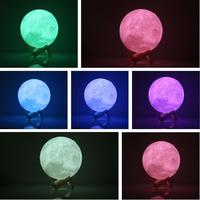 3D Print Moon Lamp LED Night Light Luna Magic Touch Full Moonlight Portable 7 Colors Change
