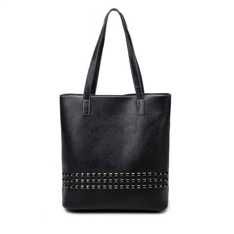PU Leather Female Handbag  Autumn Bag Large Size Women Shoulder Bag Daily Vintage Women Bag Causal Rivet Bag