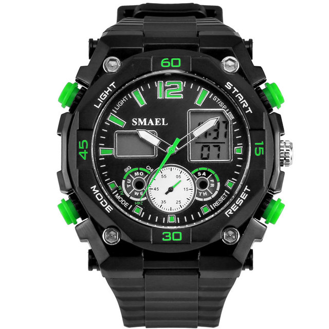 SMAEL Men Watches Analog-Digital Dual Time Wristwatch LED Digital Army Military Watch relogios masculino montre homme WS1363
