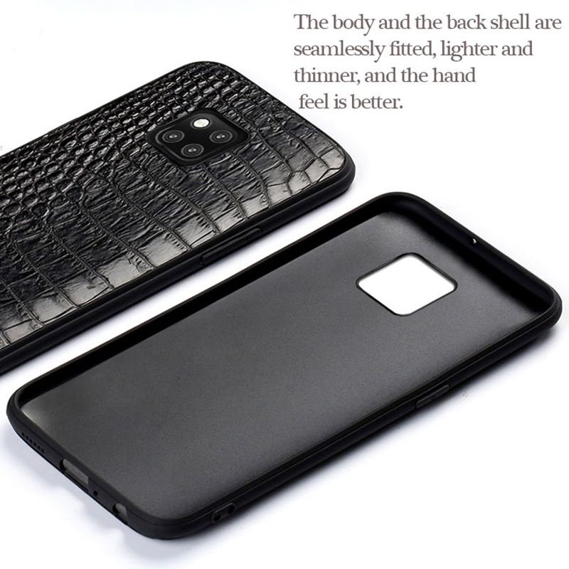 Funda de teléfono de cuero de cocodrilo genuino para Huawei mate 20 Pro Mate 30 P20 P30 Pro Lite funda para Honor V20 9X 20i 20 Pro 8x de lujo - 3