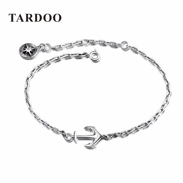 TARDOO Trendy Estilo Punk Anchor Pulseiras para Mulheres Genuine 925 Pulseira de Prata Moda & Fine Jewelry