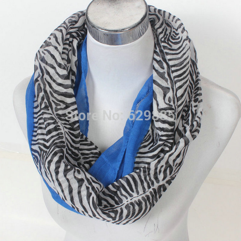New soft Hot Cute Zebra Chevron Loop Scarf Women Stripe Animal Print Infinity Scarves Female Plaid Geometric Warm Ring Shawl