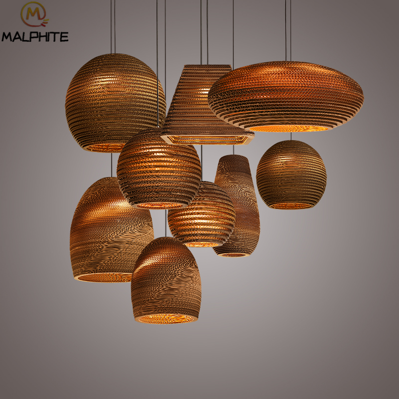 Paper Honeycomb Led Pendant Lights Bedroom Chinese Living Room Pendant Lamps Bar Caf Circular Decorative Led Lighting Fixtures
