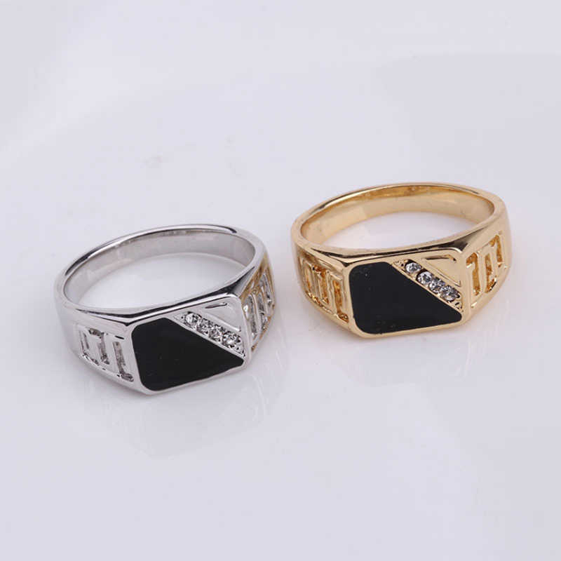 Fashion Silver Gold Color Black Enamel Men Finger Ring Size 7-12 Good Quality Man Jewelry Wedding Party Accessories
