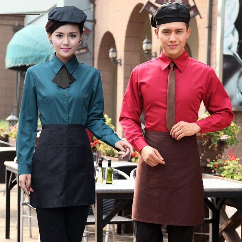(10 Set-shirt & Schort & Tie) Star Hotel Werkkleding Ober Shirts Werkkleding Franse Restaurant Overalls De Bar Barman Uniformen Warm En Winddicht