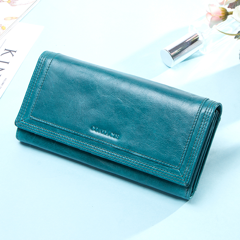 Contact's Women Wallets Genuine Leather Large Capacity Long Clutch Wallet Female Purses For IPhone X Card Holder Carteras 2020