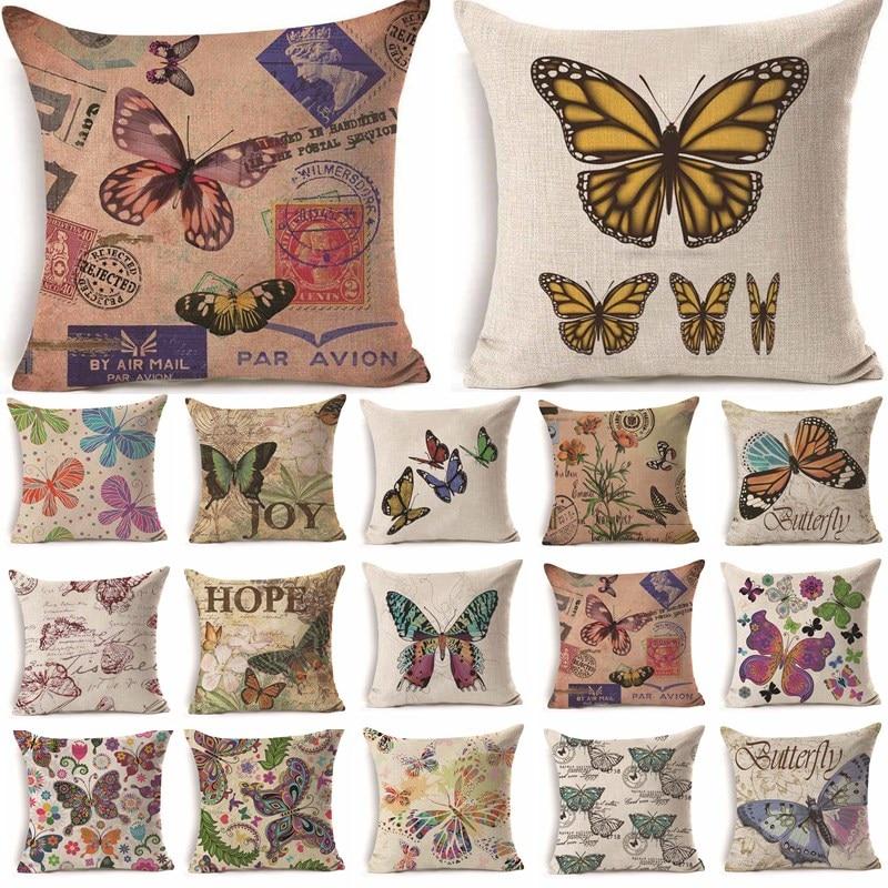 1Pcs 43*43cm Colorful Butterfly Flower Pattern Cotton Linen Throw Pillow Cushion Cover Car Home Sofa Decorative Pillowcase 40233