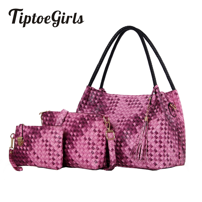 Women's Bag 2017 Tide Female New Mothers Bag Three Sets of Simple Fashion Trend Weaving Pattern Korean Tassel Mother Package haisile 2015 new swimsuit korean spa small chest steel holder bikini three sets of 1525