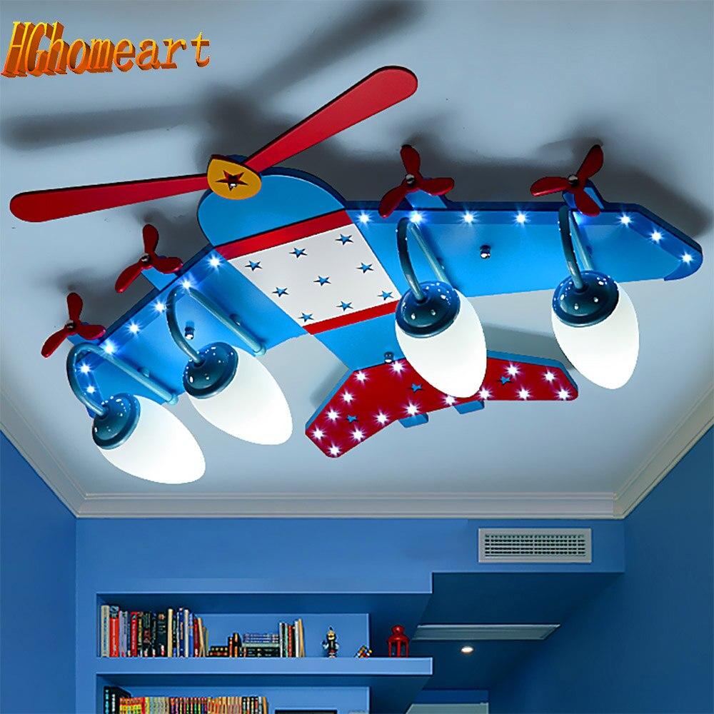 High Quality Wood Aircraft Flush Mount Ceiling Light Kids E14 Led Bulb 110 220V Cartoon Ceiling
