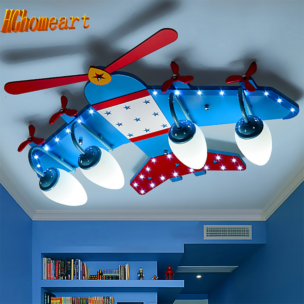 Kids bedroom ceiling lights - High Quality Wood Aircraft Flush Mount Ceiling Light Kids E14 Led Bulb 110 220v Cartoon