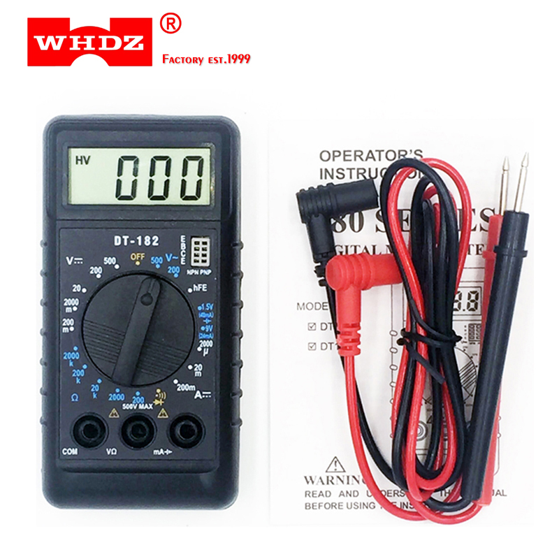 цена WHDZ DT182 Extra Mini Digital Multimeter with Buzzer Overload protection Pocket voltmeter Ampere Ohm Meter Test Probe DC AC LCD