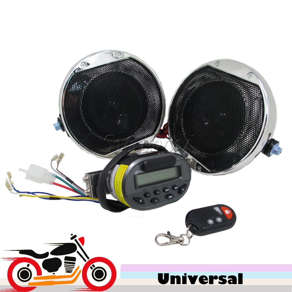 Chrome Motorcycle Audio System Anti-theft Alarm Speakers Handlebar Amplier MP3 Player FM Radio for Harley Touring Yamaha R1 R6 motorcycle mt481 mp3 player waterproof audio radio sound music player anti theft alarm screen display support fm usb