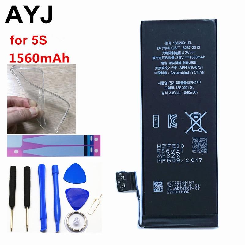AYJ 1 Peça Nova Marca de Qualidade AAAAA 5S 5C Alta Real Capacidade Da Bateria Do Telefone para o iphone 1560 mah Ciclo de Zero livre Ferramenta Kit Adesivo