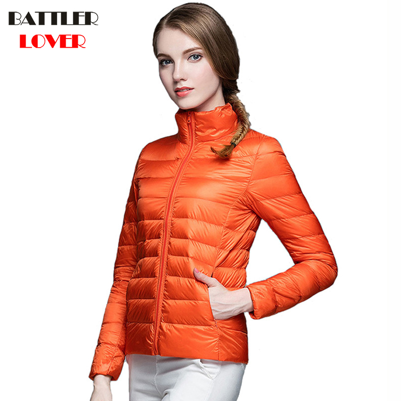 2018 Winter Women Ultra Light Down Jacket 90% Duck Down Stand Collar Jackets Long Sleeve Slim Coat Parka Female Portabl Outwear