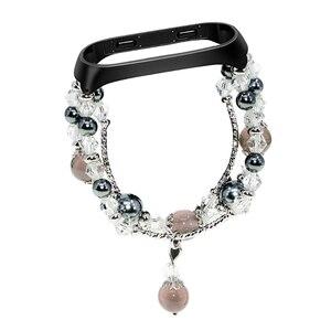 Image 2 - Bracelet Pulseira pour xiaomi mi bande 3 mi bande 4 Bracelet perles de cristal Agate chaîne sangle remplacement Smart poignet accessoires bandes