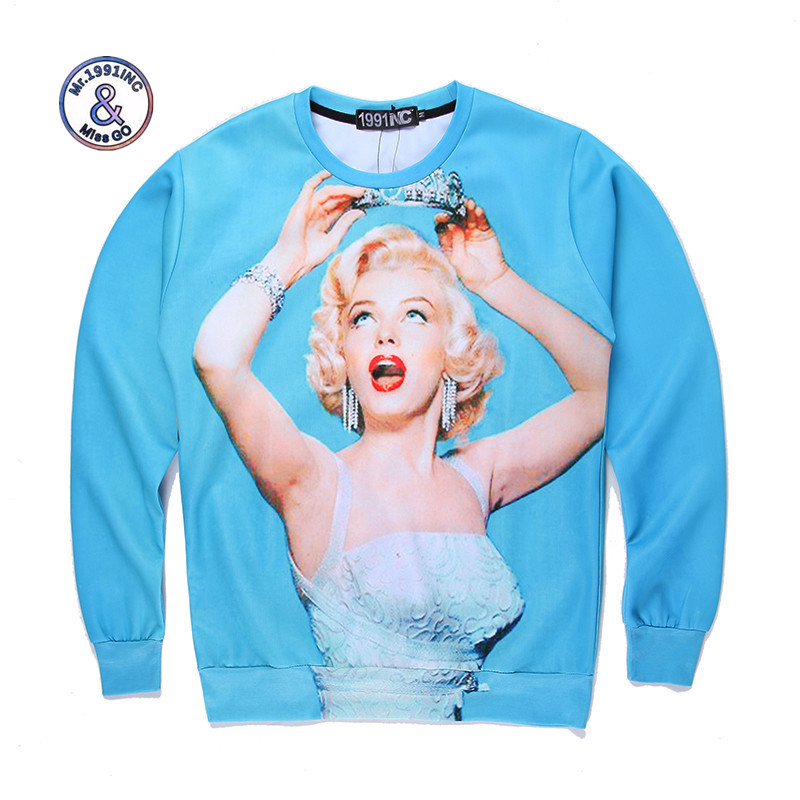 Mr.1991INC&Miss.GO Up To Date Men/Women Harajuku style 3D printing Marilyn Monroe Miley Cyrus Sweatshirt Hoodies clothing S-XL