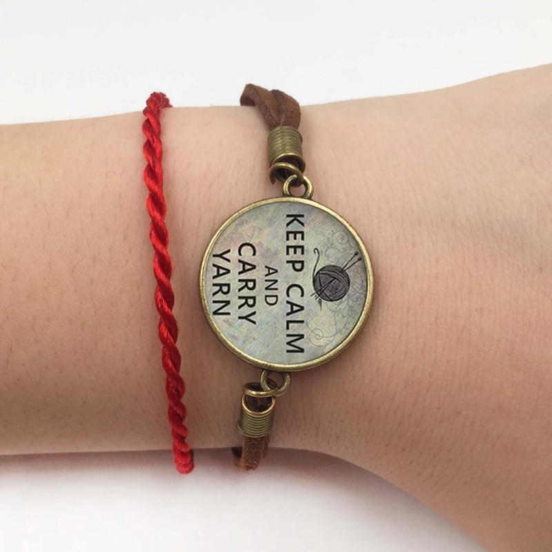 1 pc 20 Keep Calm and Carry Yarn knitters Charm, knitting bracelet charm, knitting jewelry, glass charm bracelet&bangle