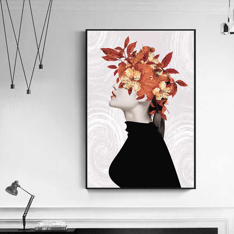 Nordic Poster Garland Girl Painting Head with Leaf Abstract Wall Art Modern Minimalist Black White Girl Scandinavian Home Decor
