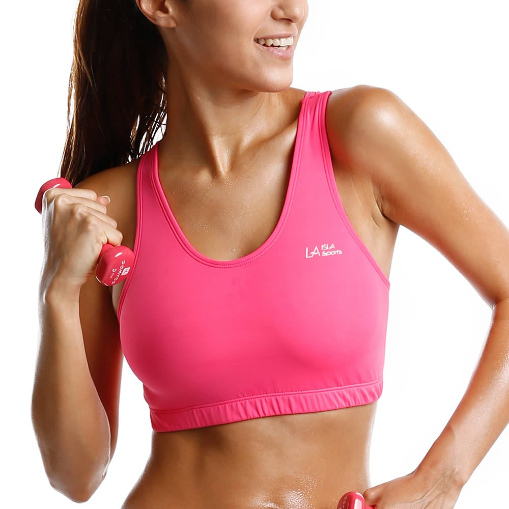 Women's Mid Impact Control Wirefree Racer Back Basic Sports Bra Top