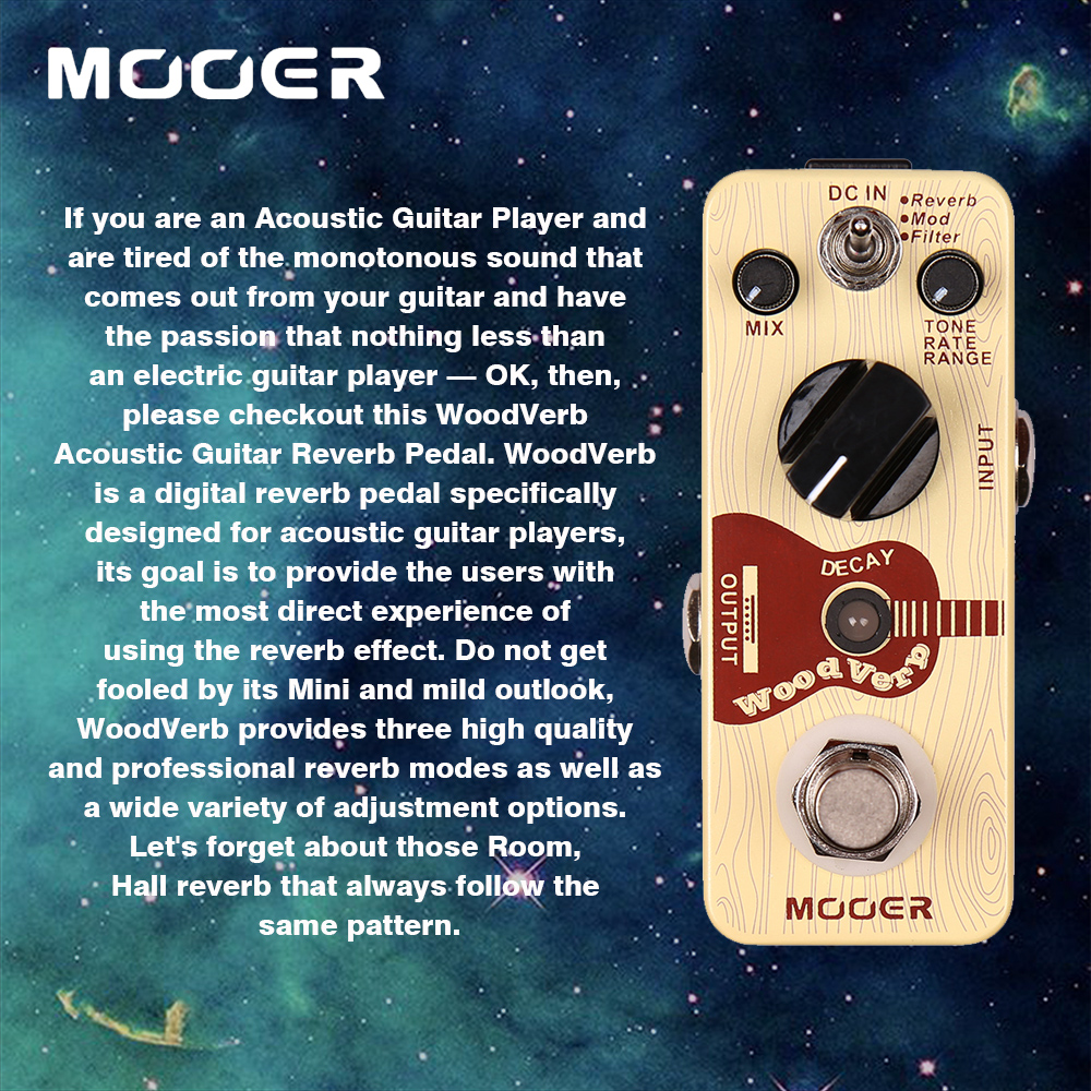 Mooer 3 Reverb Modes WoodVerb Acoustic Guitar Reverb Effect Pedal Guitarra Accessory mooer wood verb reverb digital effects acoustic guitar effect pedal tiny size true bypass mrv3