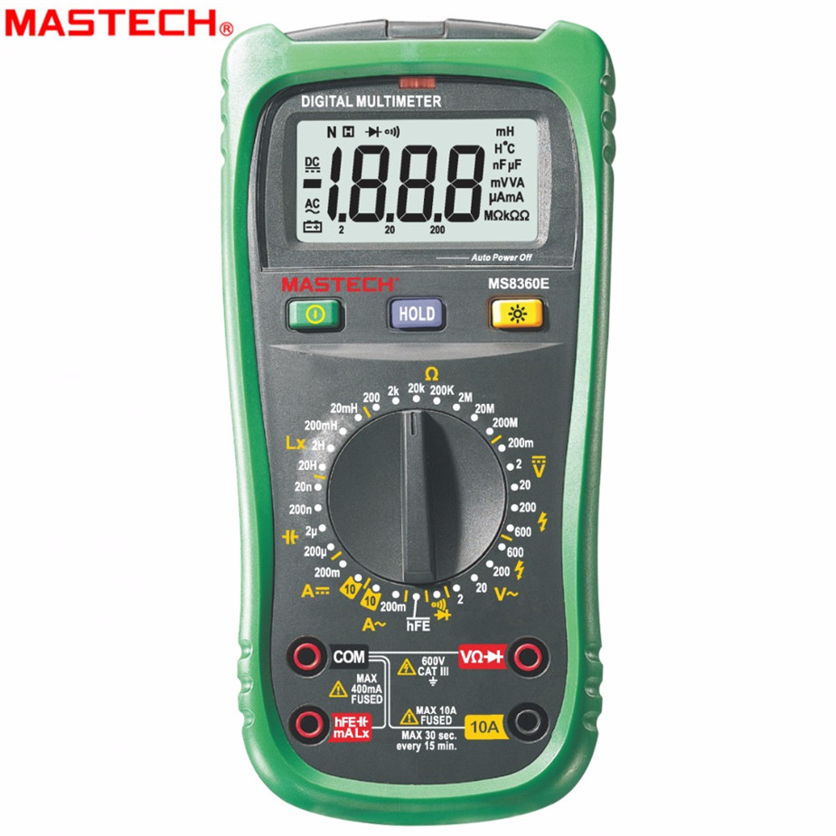 Selling MASTECH MS8260E Digital Multimeter LCR Meter AC DC Voltage Current Tester w/hFE Test & LCD Backlight Meter Multimet mastech mas830l mini digital multimeter handheld lcd display dc current tester backlight data hold continuity diode hfe test