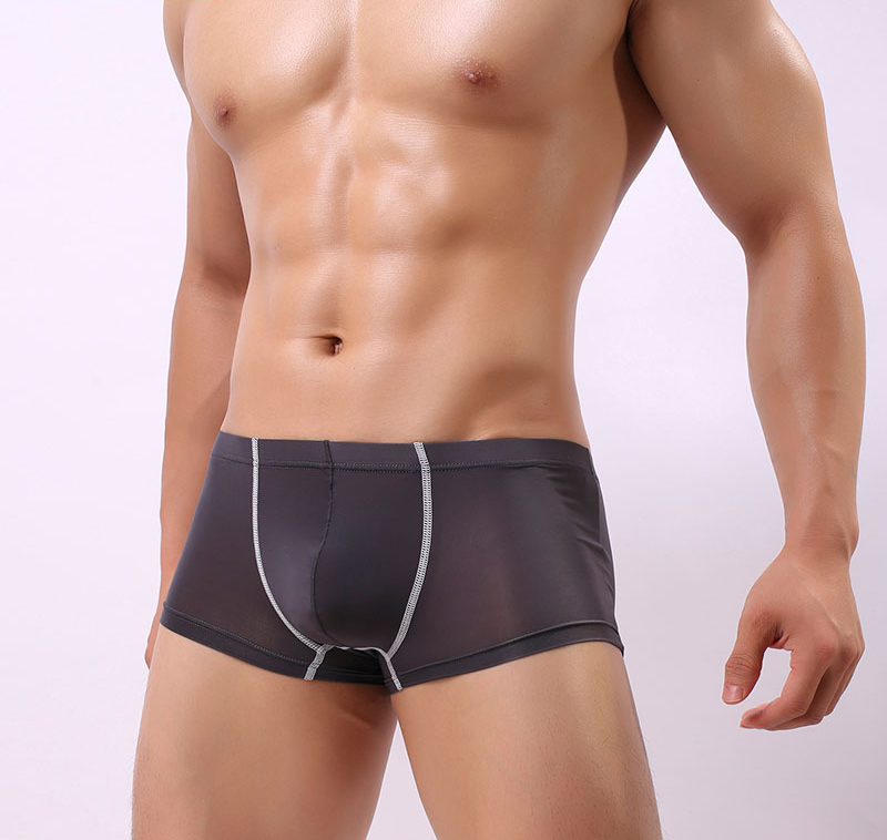 Mens Sexy Underwear Ice Silk Boxers Male Breathable Underpants Bulge Pouch Thin Boxer Solid Color Trunks Shorts Panties