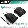 Aukey Двойной Быстрая Зарядка 3.0 USB Зарядное Устройство Универсальное Зарядное Устройство Портативное Зарядное Устройство Адаптер с Бесплатным Usb-кабель