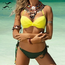Bikinx Halter push up swimsuit female Sexy yellow bikini 2018 bathing suit women bathers Brazilian bikini set Plus size swimwear