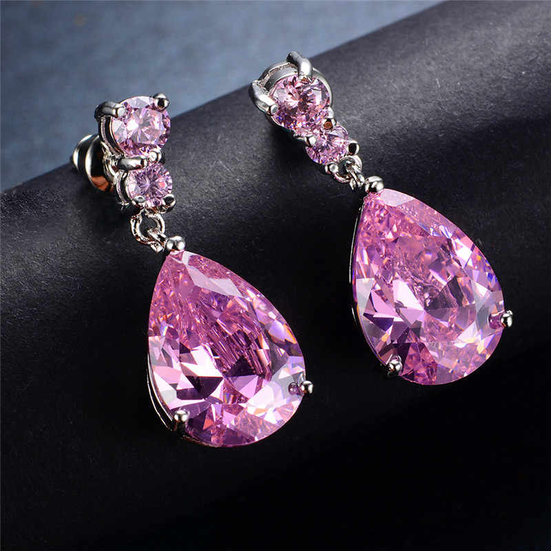 الفاخرة الإناث الكريستال قطرة الماء أقراط الأزياء 925 الاسترليني أقراط متتدلية فضية الزركون الوردي حجر أقراط للنساء