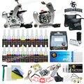 Máquinas Kit de tatuaje 2 ametralladoras 20 Tintas del color de fuente de alimentación agujas equipo set HW-1GD