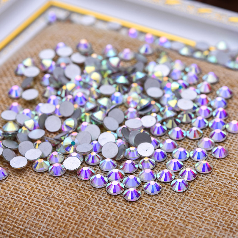 High quality 1440pcs SS3 Crystal Clear AB 1.3mm Non Hotfix Flatback Nail Rhinestones For Nails 3D Nail Art Decoration Gems 1728pcs clear crystal ab ss3 to ss10 mini sizes nail art non hotfix crystal glass rhinestones nail decoration