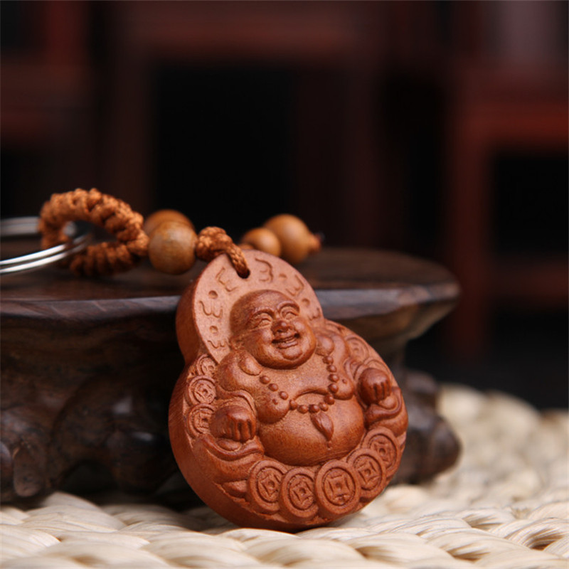 High Grade Peach Wood Carving Buckle Lucky Buddha Pendant Keychain For Car Bag Keyring Jewelry Wholesale