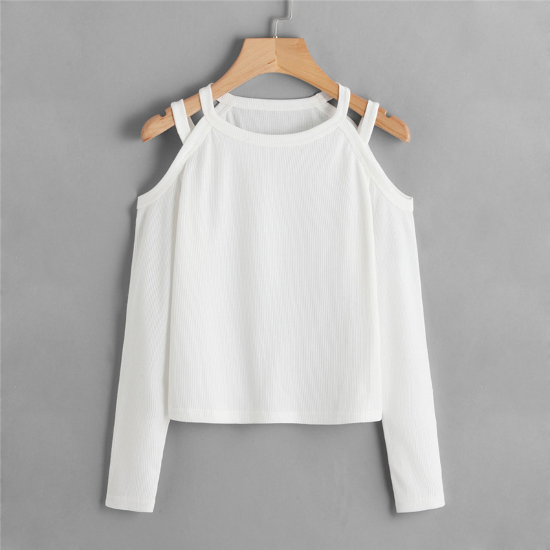 Cold Shoulder Ribbed White Women T-Shirt