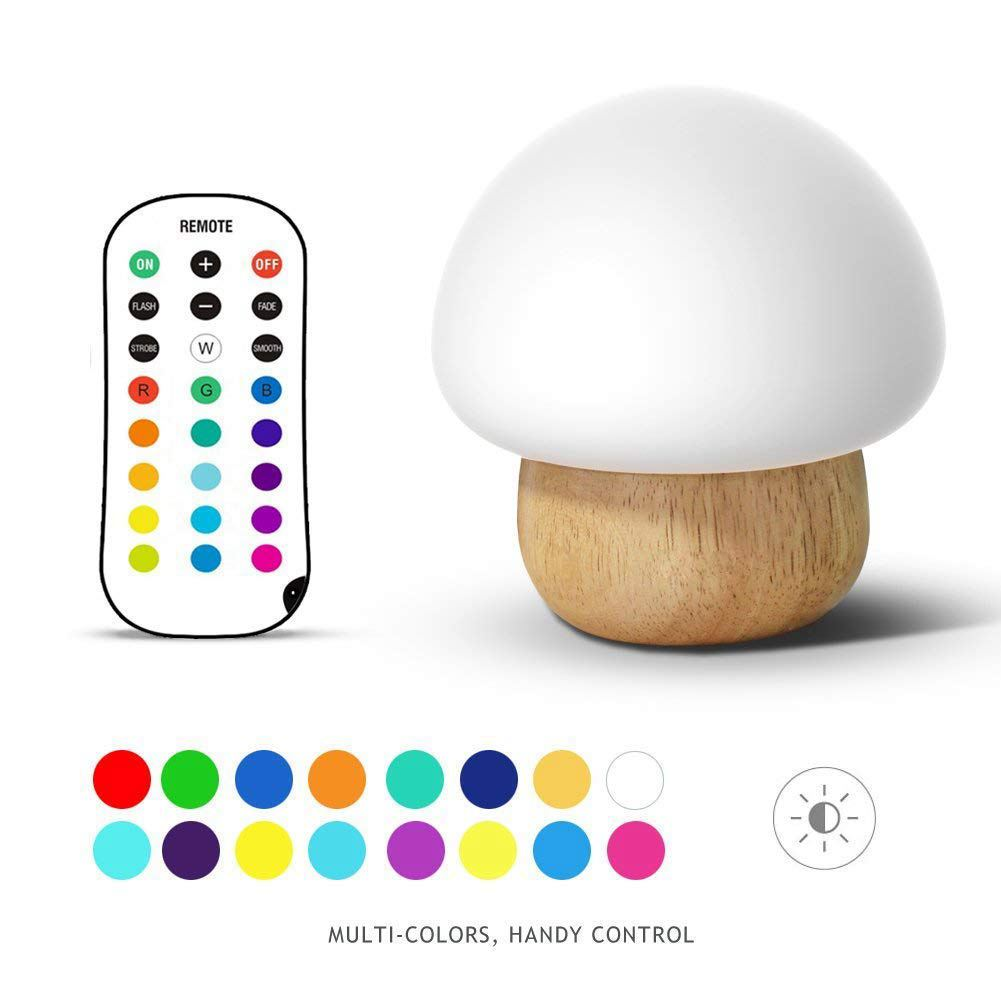 KARRONG 3W Colorful LED Night Light Wooden Base Silicone Mushroom Sleep Beside Light USB Eyecare Table Lamp With Remote For Kids