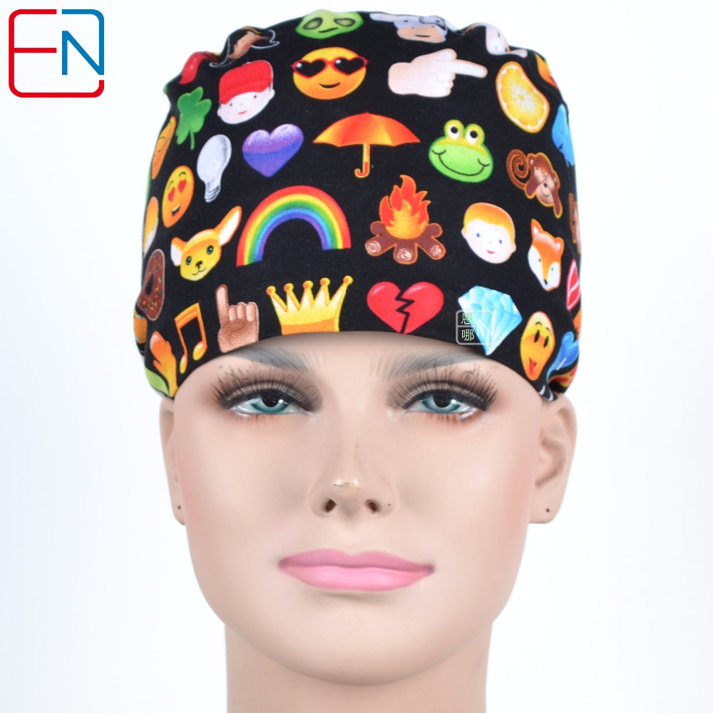 Hennar Medical Scrub Caps Surgical Medical Caps Cotton Printing Hospital Doctor Surgery Adjustable Size Clinic Nurse Accessories