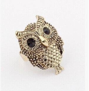 Adjustable owl ring /hot sale punk rock cute retro vintage antique men jewelry anel masculino/anillos mujer/finger ring/bague