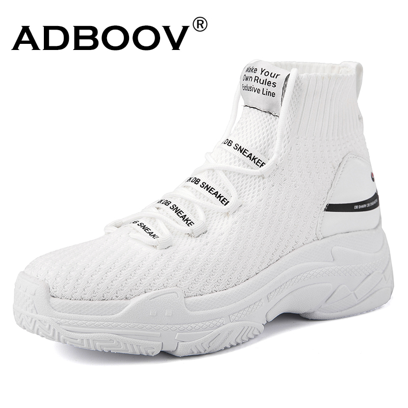 ADBOOV Shark Logo High Top Sneakers Women Knit Upper Breathable Sock Shoes Thick Sole 5 CM Fashion sapato feminino Black / White(China)