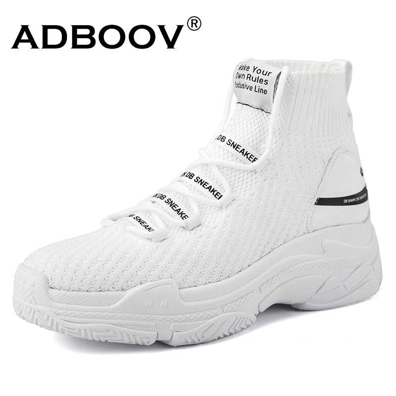 ADBOOV Shark Logo High Top Sneakers Women Knit Upper Breathable Sock Shoes  Thick Sole 5 CM 644cd2192748