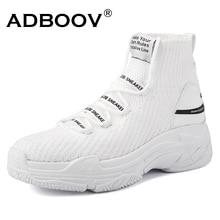 ADBOOV Акула логотип высокие кроссовки для женщин вязаный верх дышащий носок обувь толстая подошва см 5 см Мода sapato feminino черный/белый