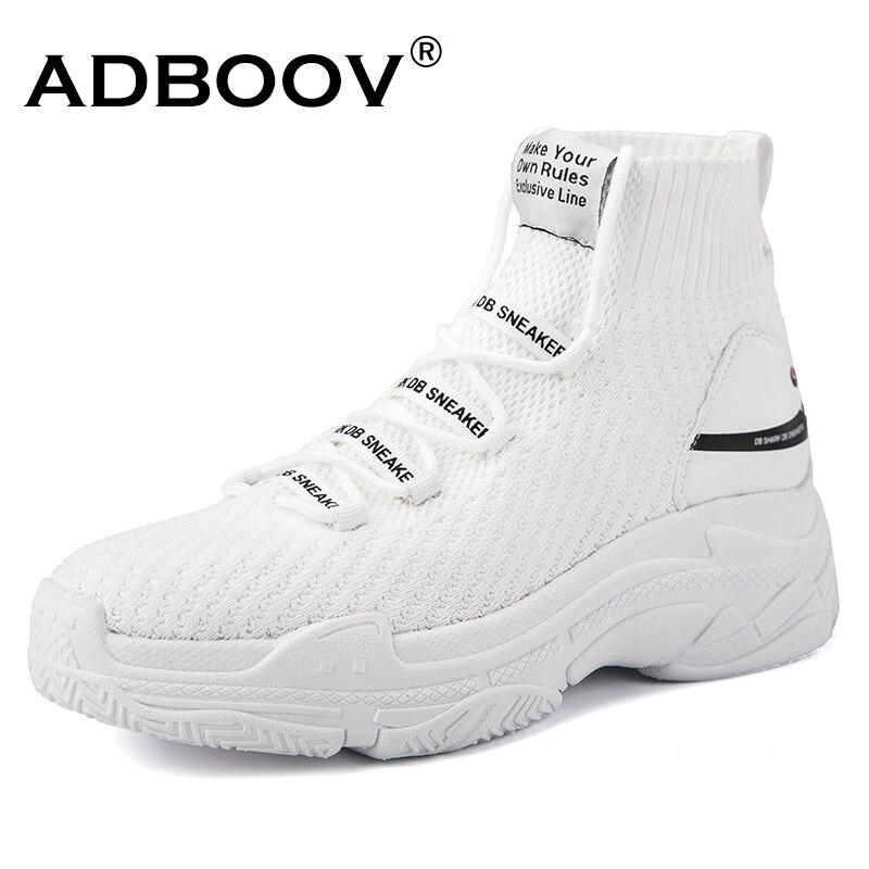 ADBOOV tiburón High Top Sneakers mujeres punto superior calcetín respirable zapatos suela gruesa 5 cm moda sapato feminino negro /blanco